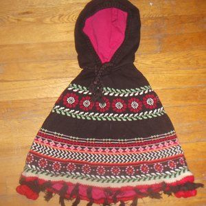 Brown Knit Poncho - Cape Girl Size 5 (107-112)